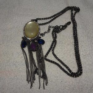 Charming Charlie Oval Cabochon Dangle Necklace